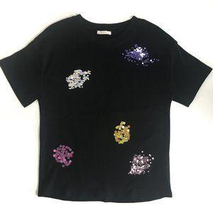 NWOT Zara Black Sequined Short Sleeve Tshirt Small